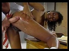 Mustache dude with huge cock fucks black girl