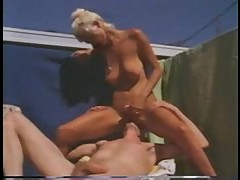 Retro sex outdoors with a hot blonde and big cock