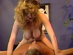 White chick pounds furiously over a huge cock