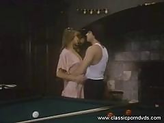 Blonde Rich Babe Gets Naked On Billiards Table And Gets Throat Fucked