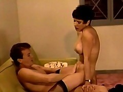 Sexy brunette hussy sucks on rigid cock