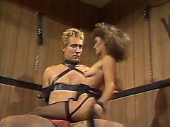 Blonde slut dominates young stud