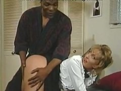 Blonde maid ass fucked with black cock