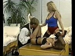 Retro foursome with busty 80s sluts