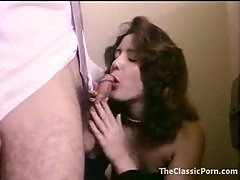 Retro porn in bathroom with cute chick