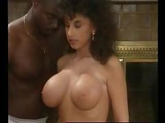 Classic Busty Oiled up Interracial Anal