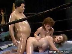Vintage Threesome Action With Two Chicks And A Cock In The Boxing Ring