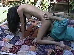Cock sucking foxy lady fucked outdoors